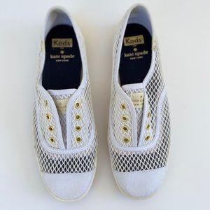 KEDS white mesh slip on sneakers